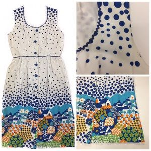 Vintage Day Dress Polka Dot Rick Rack Mod Print